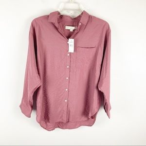 NWT Loft Rose Colored Button Down Rayon Blend S